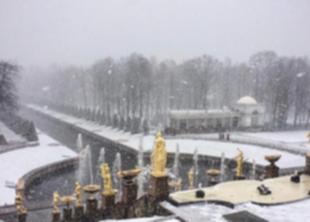 В Петродворце в снегопад заработали фонтаны